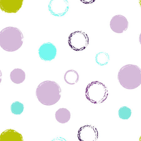 Colorful Polka Dots. Pastel Vector Seamless Pattern. Bright Decor. White Abstract Background With Watercolor Fall Chaotic Shapes. Trend Retro Packaging. Chalk Brush Rounds, Confetti.