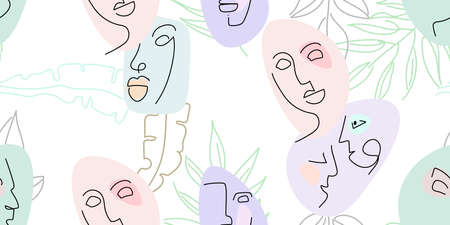 Face line pattern. Abstract drawing seamless pattern. Vector Modern minimal art. Graphics contour background. Continuous one line drawing. Linear design woman and man faces. Beauty modern print. 矢量图像