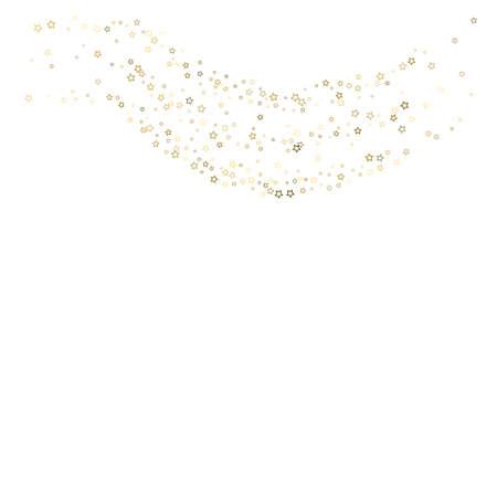Gold Glitter Stars. Luxury Shiny Confetti. Scattered little sparkle. Flash glow silver element. Random magic tiny light. Stellar fall white background. New Year, Christmas Vector illustration.