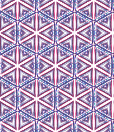 Chevron Geometric Hand Drawn Painted. Ottoman, Islam, Orient, Spanish Seamless Pattern. Geo Texture. Tribal Folk Cloth. Purple, Pink Texture. Ornamental Tile.
