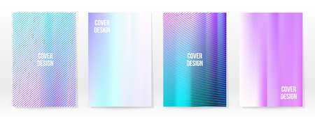 Holographic Poster Set. Iridescent Technology Cover. Mobile Graphic Template. Vector Poster. Gradient Mesh. Futuristic Holographic Template Design. Modern Abstract Backgrounds 90s, 80s Retro Style. 矢量图像