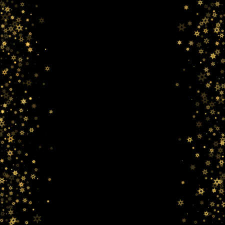 Falling Snow flakes golden pattern. Illustration with flying gold snow, frost, snowfall. Winter print for christmas celebration on black night background. Holiday Vector illustration for New Year. 矢量图像