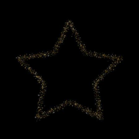 Gold Glitter Stars. Luxury Shiny Confetti. Scattered little sparkle. Flash glow silver element. Random magic tiny light. Stellar fall black background. New Year, Christmas Vector illustration. 矢量图像