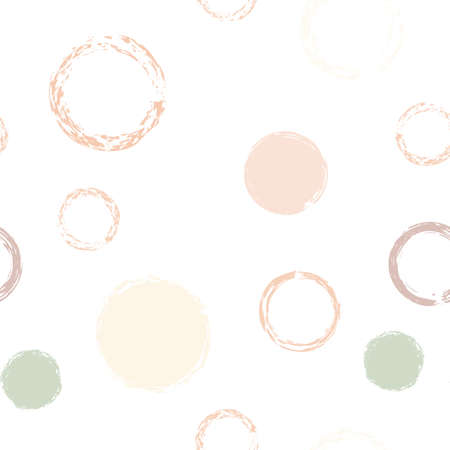 Black Brush Circle. Vector Seamless Pattern. Multicolor Ornament. White Abstract Background With Watercolor Fall Chaotic Shapes. Simple Vintage Textile. Chalk Brush Rounds, Confetti.