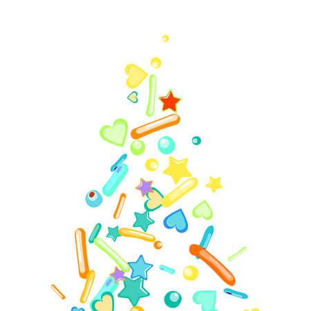 Sprinkles grainy. Cupcake donuts, dessert, sugar, bakery background. Sweet confetti on white chocolate glaze background. Vector Illustration sprinkles holiday designs, party, birthday, invitation. 矢量图像