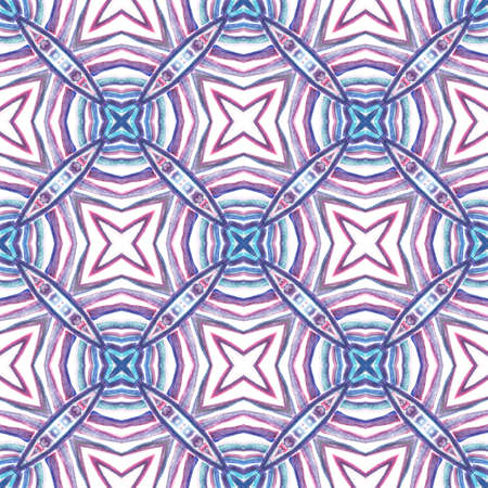 Modern Abstract, Endless Repeat Painting. Talavera, Tunisian, Turkish, Arab Ornament. Ethnic Surface. Traditional Native Carpet. Purple, Pink Surface. Woven Ornament.