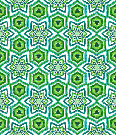 Geo Geometric, Endless Repeat Painting. Portugal, Turkish, Moroccan, Spanish Ornament. Ethnic Surface. Native Canvas. Blue, Green Design. Woven Ornament.