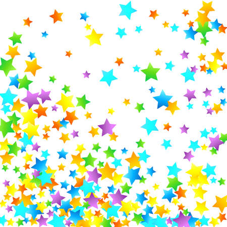 Rainbow Festive Confetti. Carnival Template. Colorful Star Falling. Beautiful Holidays Party. Little Tiny Multi color Sprockets on White Background. Bright Vector Illustration. Vettoriali