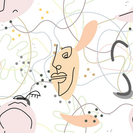 Woman Face line. Abstract drawing seamless pattern. Vector Modern minimal art. Graphics contour background. Continuous one line drawing. Linear design woman and man faces. Beauty modern print.