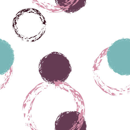 Polka Dot. Texture Vector Seamless Pattern. Colorful Illustration. White Abstract Background With Watercolor Fall Chaotic Shapes. Simple Soft Fabric. Chalk Brush Rounds, Confetti. 矢量图像