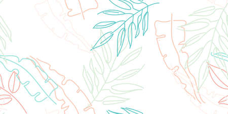 Tropical Leaf. Modern Motif. Pastel One Line Drawing. Jungle Print. Foliage Summer Seamless Pattern. Trending Greenery Vector Background. Artistic Botanical Surface. Abstract Plant Texture For Fashion