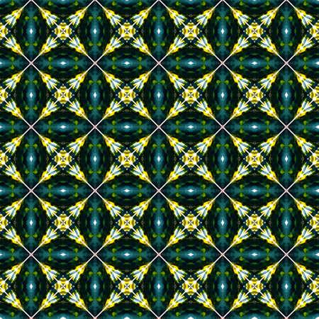 Ethnic Texture. Hand Drawn Painted. Islam, Orient, Spanish, Talavera Seamless Pattern. Watercolor Surface. Old Modern Home Decor. Yellow, Green Ornament. Chevron Ornament. 免版税图像