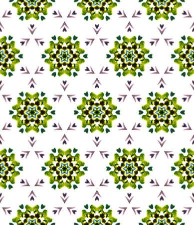 Chevron Geometric Hand Drawn Painted. Ottoman, Islam, Orient, Spanish Seamless Pattern. Modern Abstract. Tribal Summer Woven. Yellow, Green Mosaic. Stripes Element. 免版税图像