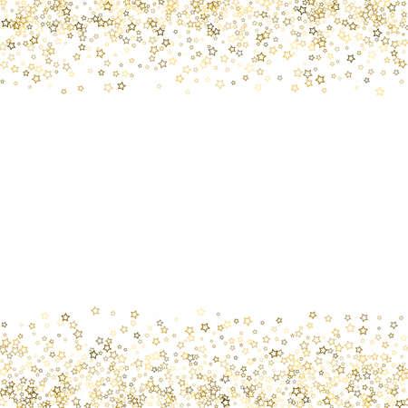 Gold Glitter Stars. Luxury Shiny Confetti. Scattered little sparkle. Flash glow silver, elements. Random magic tiny light. Gold stellar fall white background. New Year, Christmas Vector illustration. 矢量图像