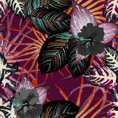 Tropical Leaf. Modern Motif. Jungle Print. Foliage Summer Seamless Pattern. Trending Greenery Vector Background. Artistic Botanical Surface. Abstract Plant Texture For Fashion. Contrast Brush Drawing.