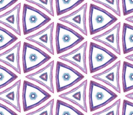 Modern Abstract, Endless Repeat Painting. Talavera, Tunisian, Turkish, Arab Ornament. Ethnic Texture. Native Folk Cloth. Purple, Pink Tile. Geometric Tile.