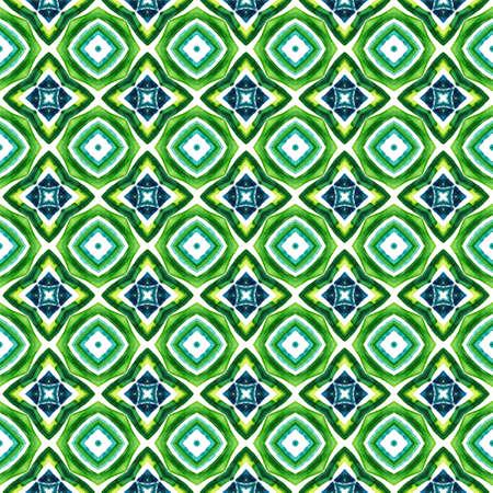 Ethnic Art. Hand Drawn Painted. Mediterranean, Arab, Arabesque Seamless Pattern. Traditional Graphic. Folklore Home Decor. Blue, Green Motif. Medallion Surface.