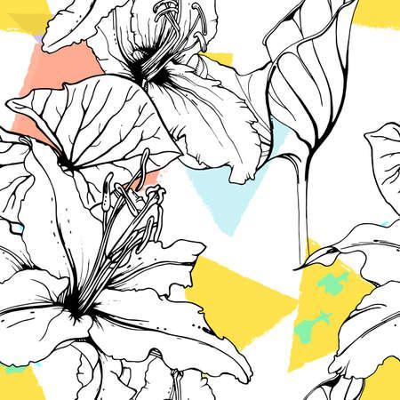 Floral Black White Print. Tropical Jungle Leaf on Geometric Brush Shapes. Modern Motif. Foliage Summer Seamless Pattern. Trending Vector Background. Artistic Botanical Surface. Plant Texture Fashion.