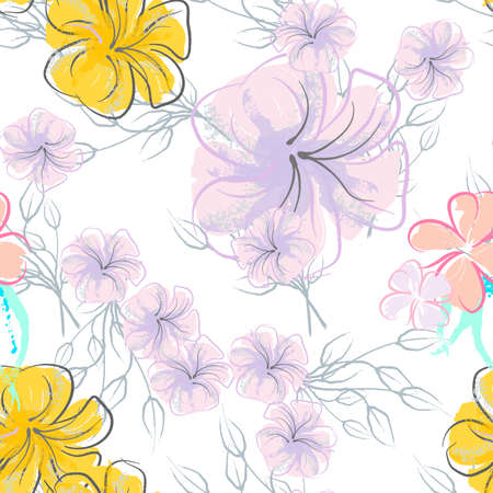 Pink Flowers Blooming Pattern. Pastel Watercolor Floral Print. Little Pink, Yellow, Lilac flower on gray leaf. Elegant brush Background. Seamless Botanical Vector Surface. Texture For Fashion Prints.