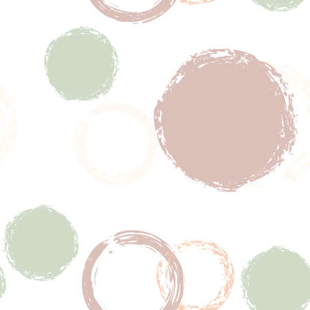Cute Polka Dots. Vector Endless Repeat Print. Colorful Design. White Abstract Background With Watercolor Fall Chaotic Shapes. Grunge Soft Packaging. Chalk Brush Rounds, Confetti.