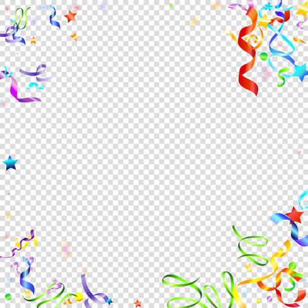 Colorful Serpentine. Holiday Foil Streamers Ribbons. Confetti Star Falling on Transparent Background. Party, Birthday Vector Template. Carnival Serpentine. Celebration Elements. Bright Festive Tinsel.