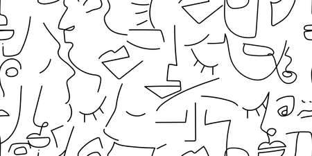 One line drawing. Black and white face seamless pattern. Vector Modern minimal art. Graphics contour background. Continuous line drawing. Linear design woman and man faces. Beauty modern print.