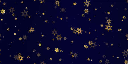 Gold Falling Snowflakes seamless pattern. Illustration with flying snow, frost, snowfall. Winter seamless print for christmas celebration on blue night background. Holiday Vector illustration New Year
