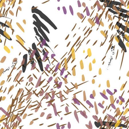Splash Seamless Pattern. Fashion Concept. Distress Print. Ochra, Sepia Illustration. Urban Surface Textile. Ink Stains. Spray Paint. Splash Blots. Artistic Creative Vector Background.
