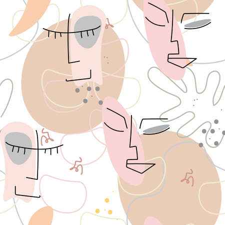 Face line pattern. Abstract drawing seamless pattern. Vector Modern minimal art. Graphics contour background. Continuous one line drawing. Linear design woman and man faces. Beauty modern print. 向量圖像