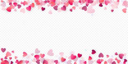 Heart love vector background. Valentine frame. Pink hearts confetti. Scattered love symbols. Random falling heart shape on transparent background. Beautiful Invitation, Greeting Card Illustration.
