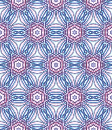 Geo Surface. Endless Repeat Painting. Islam, Orient, Spanish, Talavera Ornament. Ethnic Texture. Ethnic Native Wallpaper. Purple, Pink Art. Geometric Ornament. 版權商用圖片