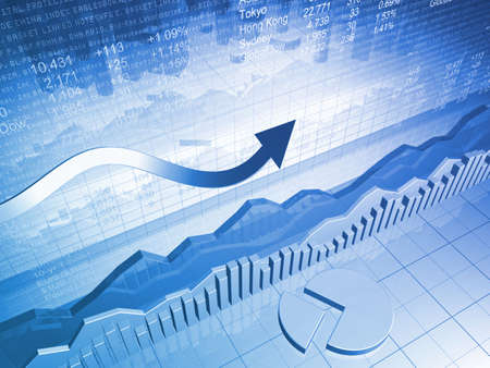 estadisticas: Financiera de stock de datos con un gr�fico circular  Foto de archivo