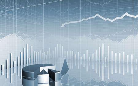 investment analysis: 3D Stock Market Data broken pie chart