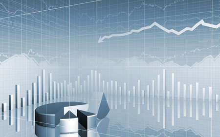 3D Stock Market Data broken pie chart