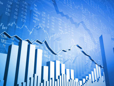 Financial Stock Market Data Blue Background photo