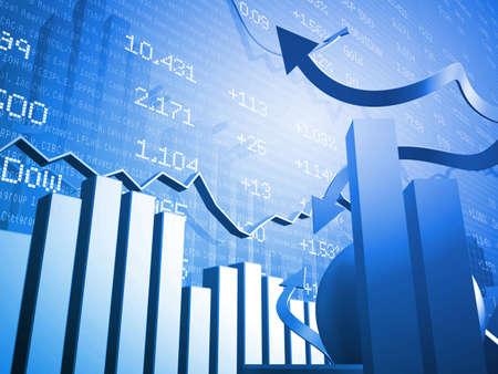 3D Stock Market Data Blue Background