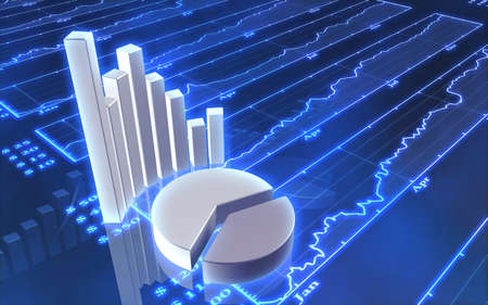 information analysis: 3D Abstract of Stock Market Chart Stock Photo