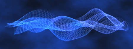 Blue Data Wave in Undulating Pattern