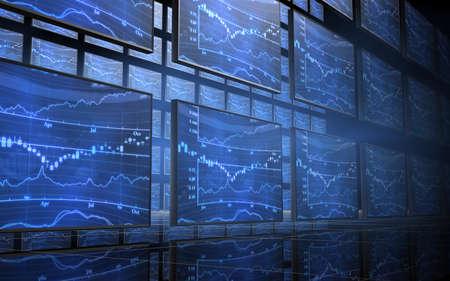 3D image of Stock Market Screens