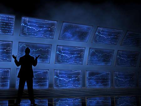 Man looking at Stock Market Screens Stock Photo