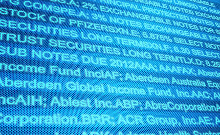 Abstract image of a computer screen of Financials Stock Photo