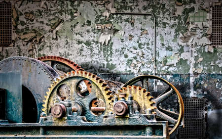 An old steam engine in abandoned waterworks