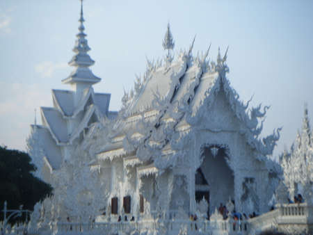 White temple Wat Rong Khun is an unconventional contemporary Buddhist and Hindu temple. It is in the province of Chiang Rai, Thailand