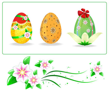 Set of painted easters eggs and flowers Stock Vector - 13475348