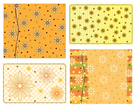 Scrapbook patterns of design elements with daisy  Vector