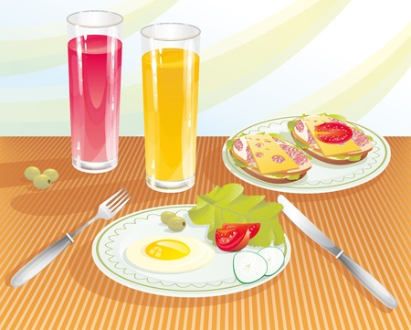 dining tables: The light breakfast with orange and pomegranate juice