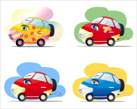 Funny colorful cars with eyes in cartoon style   Vector