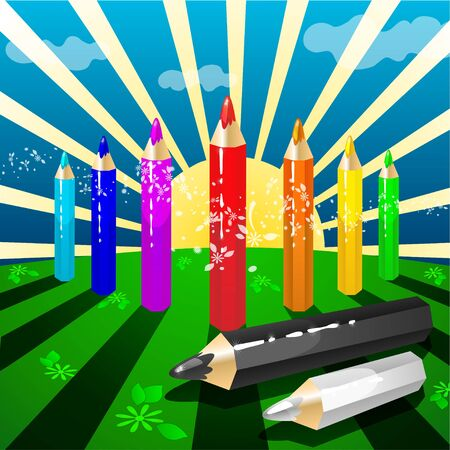 Set color Pencils in action  Vector illustration Stock Vector - 15095199
