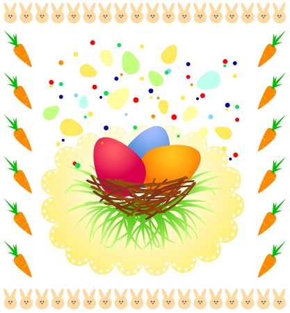 symbolize: Easters background with colorful eggs and funny rabbits