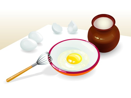 Three eggs and one from it is broken in the bowl  And milk in the clay jug  Illustration